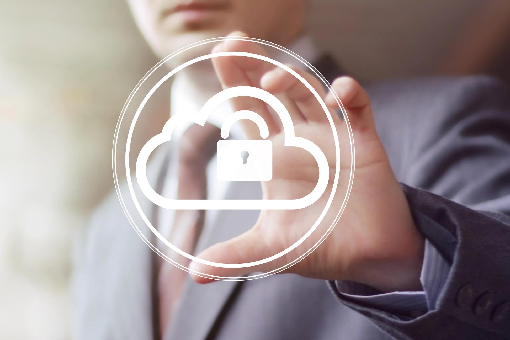Businessman pushing web button cloud lock web copy