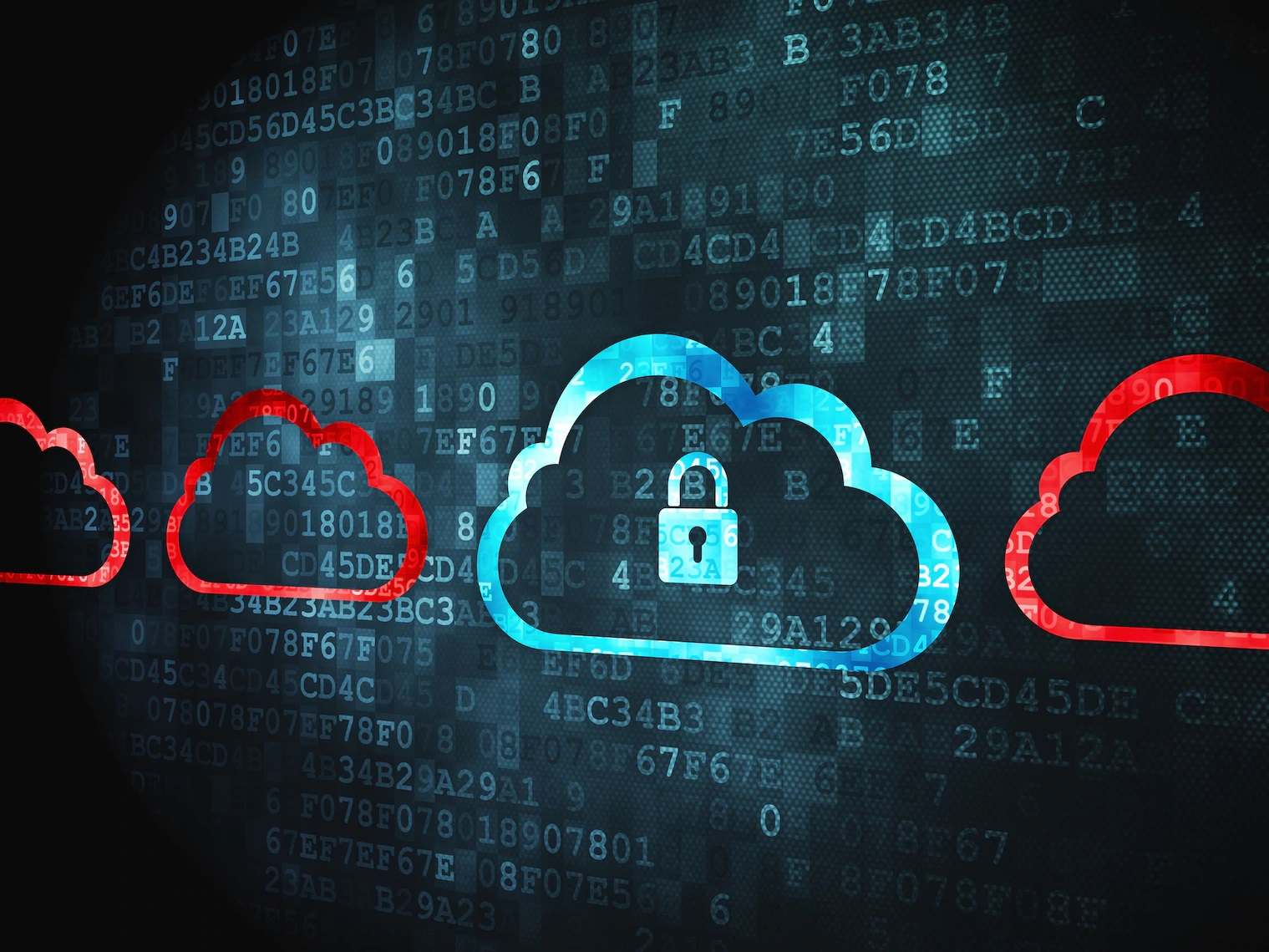 Cloud computing concept pixelated Cloud With Padlock icon on digital background copy
